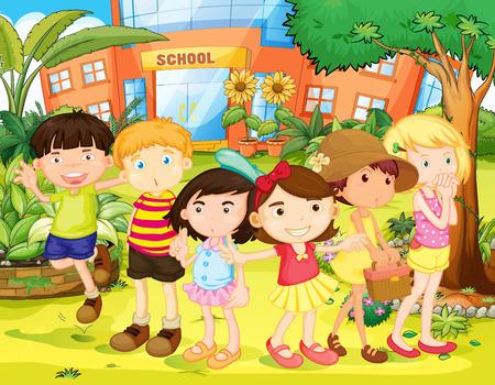 escuela caricatura: Los niños y niñas que se divierten en el patio de la escuela ilustración Vectores
