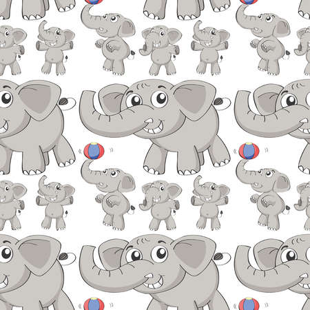 git: Seamless different post of elephant illustration