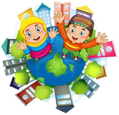 Muslim paio staning su illustrazione Terra