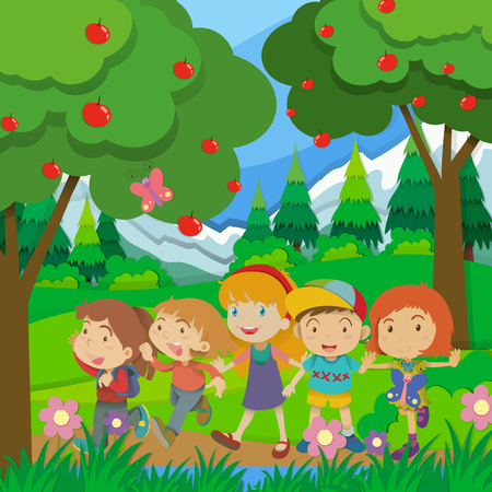 apple clipart: Children walking in the forest illustration