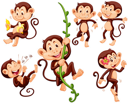 Little monkeys doing different things illustration