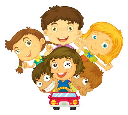 Enfants conduisant l'illustration de voiture privée Banque d'images - 50683880