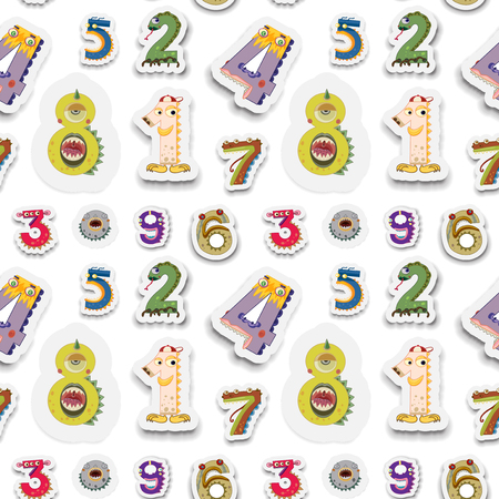 numbers clipart: Seamless numbers with monster face illustration