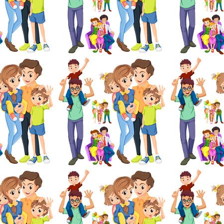 Nahtlose Familie mit Eltern und Kindern Illustration