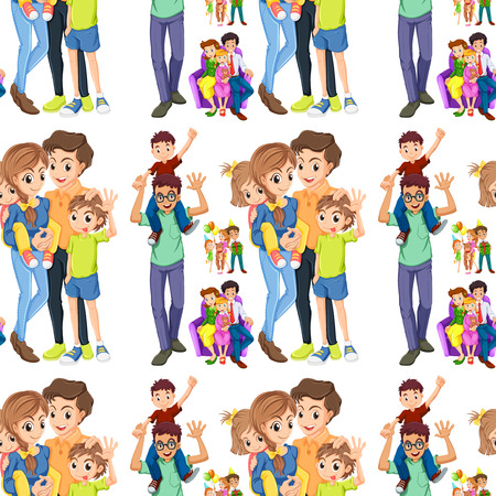 sibling: Seamless family with parents and children illustration