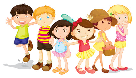 small group of objects: Group of boys and girls  illustration