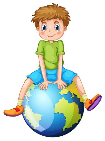 planeta tierra feliz: Niño sentado en la ilustración planeta azul Vectores