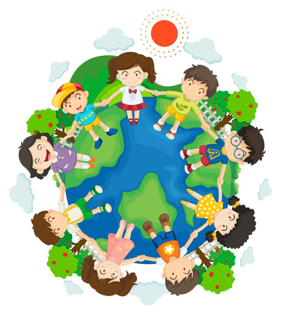holding hands: Children holding hands around the earth illustration Illustration