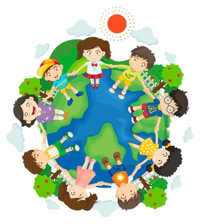 Children holding hands around the earth illustration Illustration
