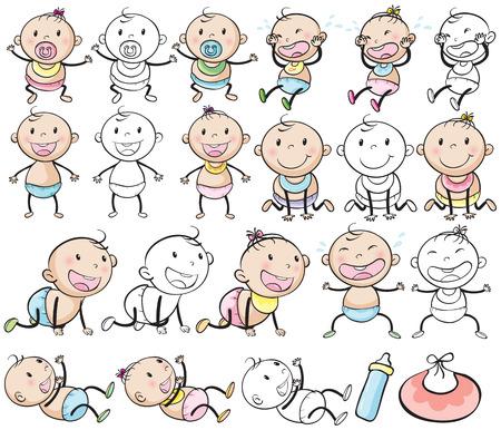 niños y niñas en diferentes puestos de la ilustración bebé