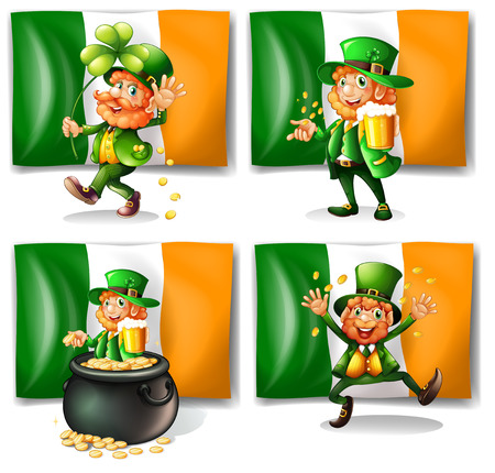 leprechaun background: St Patrick day theme with elf and flag illustration