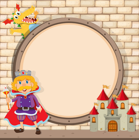 fairytale castle: Border design with king and dragon illustration Illustration