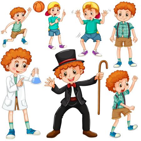 niños actuando: Muchacho que hace diferentes actividades ilustración
