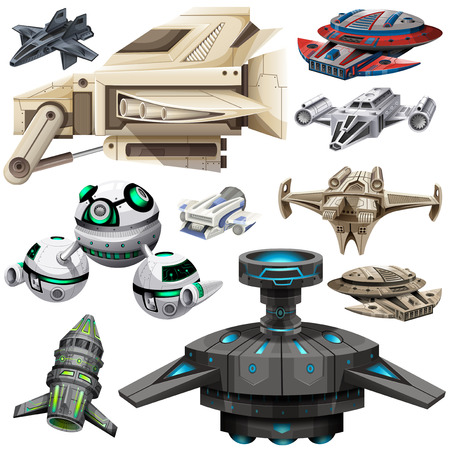Different design of spaceships illustration Иллюстрация