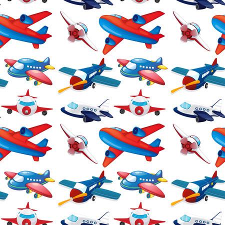 jet plane: Seamles different design of airplane illustration