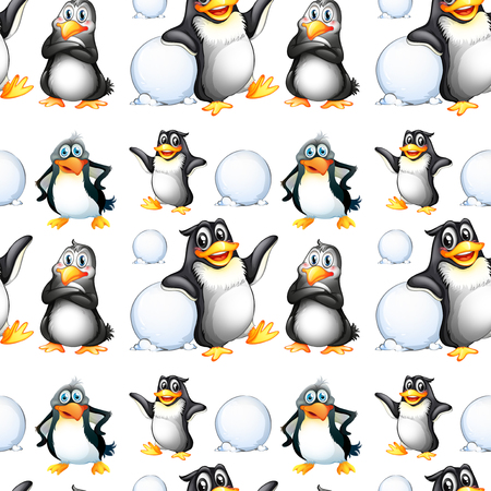 git: Seamless penguins and snow balls illustration Illustration