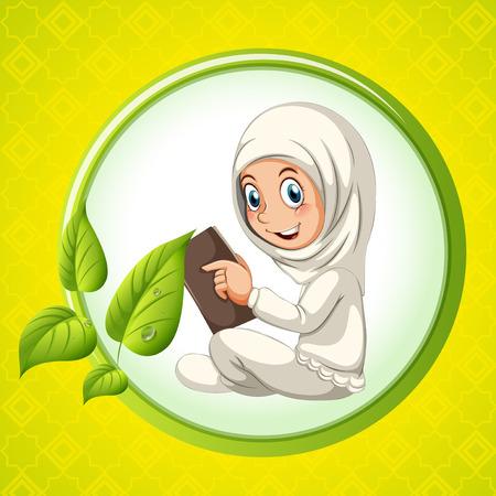 bible background: Muslim girl reading book illustration Illustration
