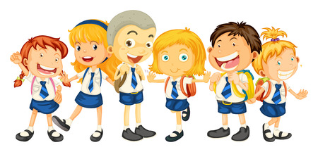 school uniform: Boys and girls in school uniform illustration