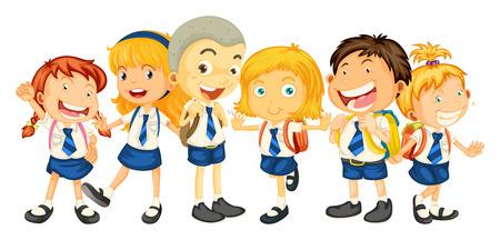 uniforme: Los niños y las niñas en la ilustración uniforme escolar