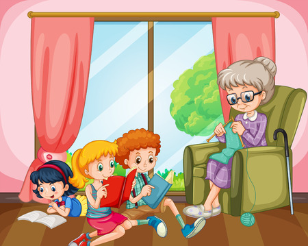 woman girl: Children reading and old lady knitting illustration