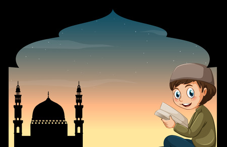 mosque: Muslim boy reading book with mosque background illustration
