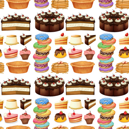 chocolate cupcake: Seamless different kind of desserts illustration