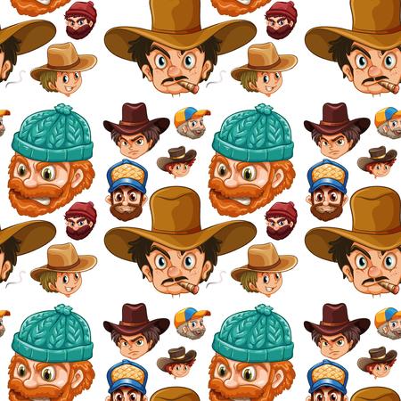 cigar shape: Seamless head of cowboys and lumberjacks illustration Illustration