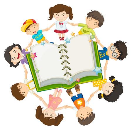 children book: Children around the open book illustration