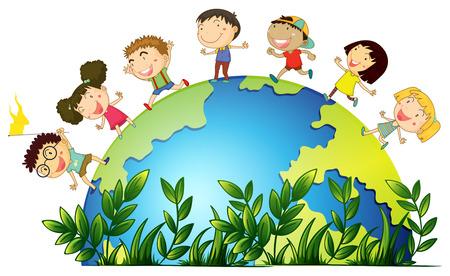 planeta tierra feliz: Niños corriendo alrededor de la ilustración del globo