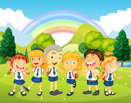 lawn: Children in uniform standing in the park illustration Illustration
