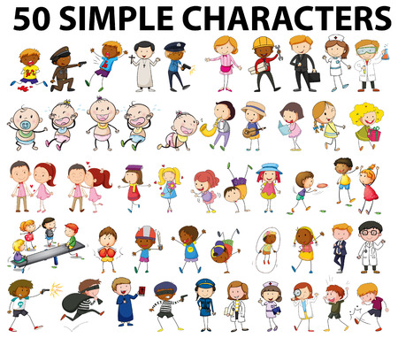 Fifty simple characters doing different things illustration Illustration
