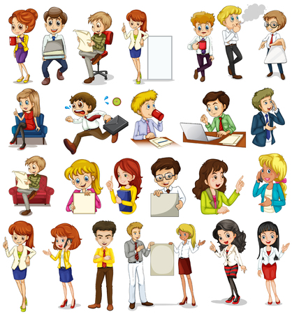 working in office: Business people doing different activities illustration