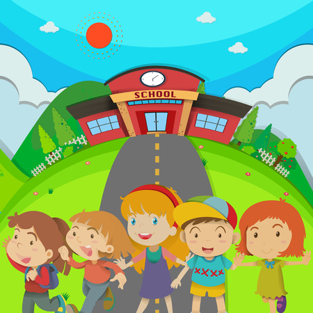 college students campus: Children standing in front of school illustration