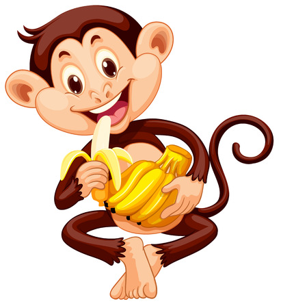 Little monkey eating banana illustration