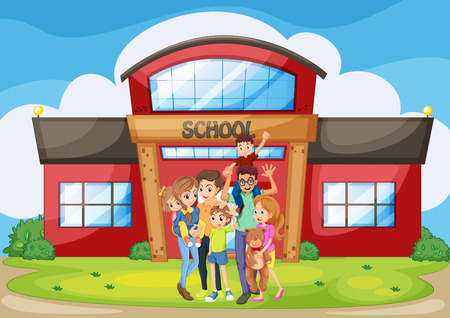 family: Family standing in front of school building illustration