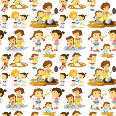 chores: Seamless girls doing chores illustration