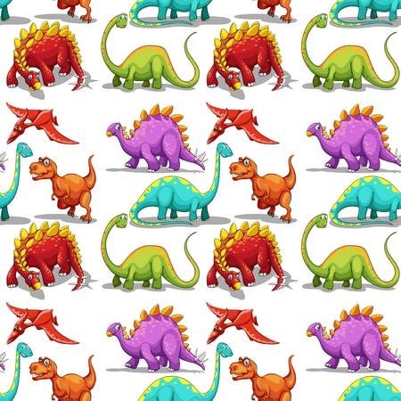 long neck: Seamless different kind of dinosaurs illustration Illustration