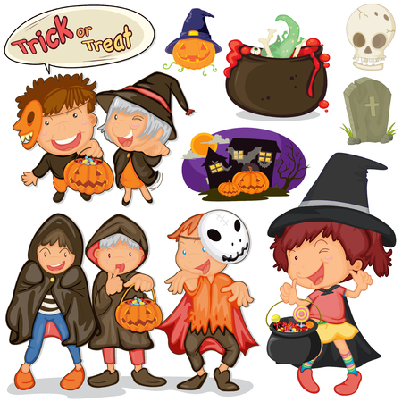 small group of objects: Children dressing up for halloween illustration Illustration