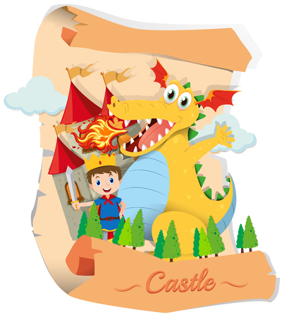 fictional character: Prince and dragon in fairytale illustration