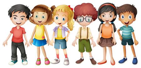 chicas sonriendo: Los niños y niñas que se colocan en grupo ilustración