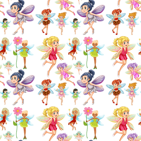 girl: Seamless cute fairies flying  illustration