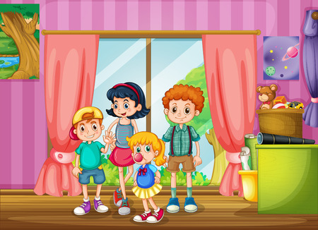 home clipart: Children standing in the room illustration