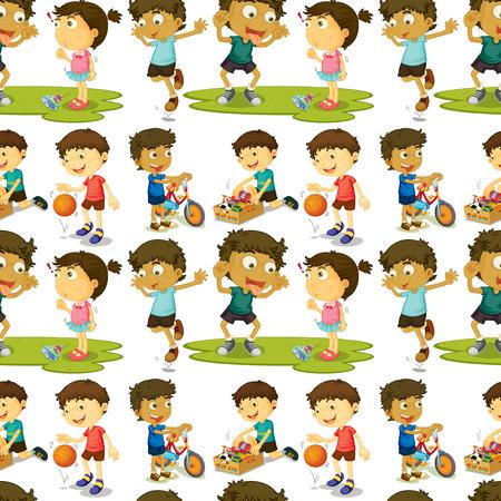 boys playing: Seamless boys and girls playing illustration Illustration