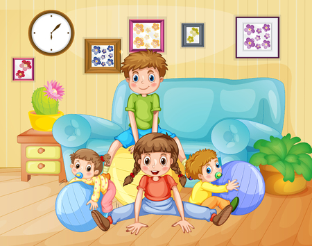 exercise: Boys and girls playing balls in the room illustration Illustration