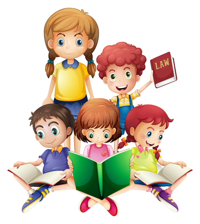 Children reading books together illustration
