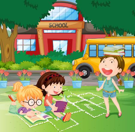 school yard: Girls reading in the school yard illustration