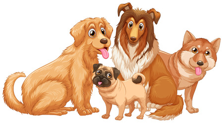 pug puppy: Different type of cute puppy dogs illustration