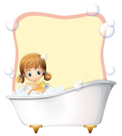 little girl bath: Little girl taking a bath illustration