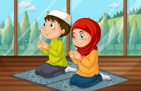 petite fille musulmane: gar�on musulman et une fille en pri�re dans la salle illustration Illustration