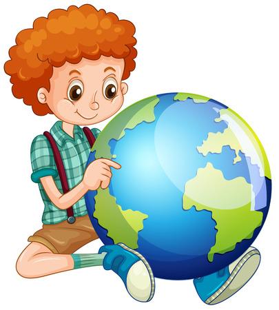 planeta tierra feliz: niño pequeño y de la ilustración del mundo